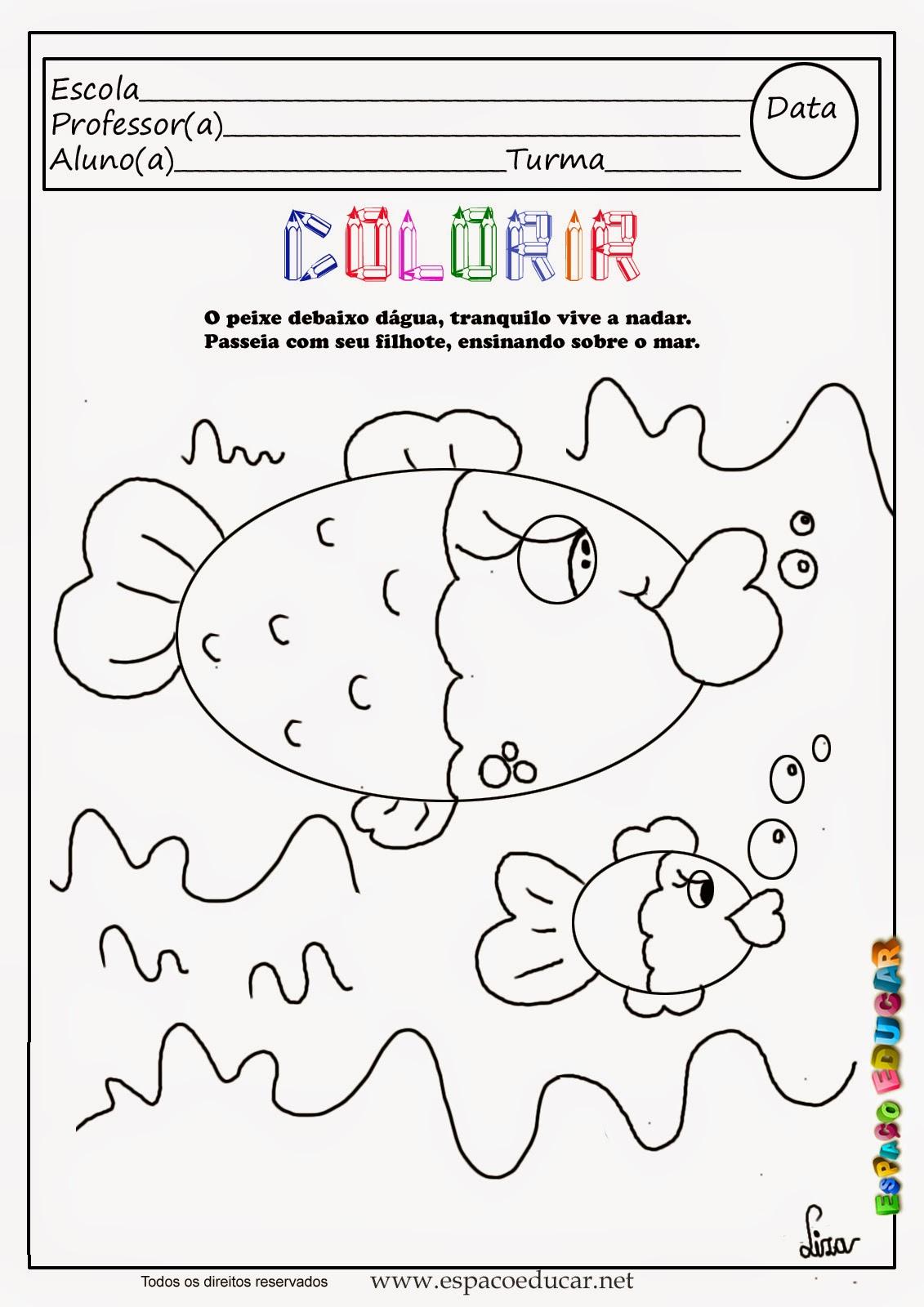 Desenho De Peixe Para Colorir Pintar Imprimir Espaco Pedagogico