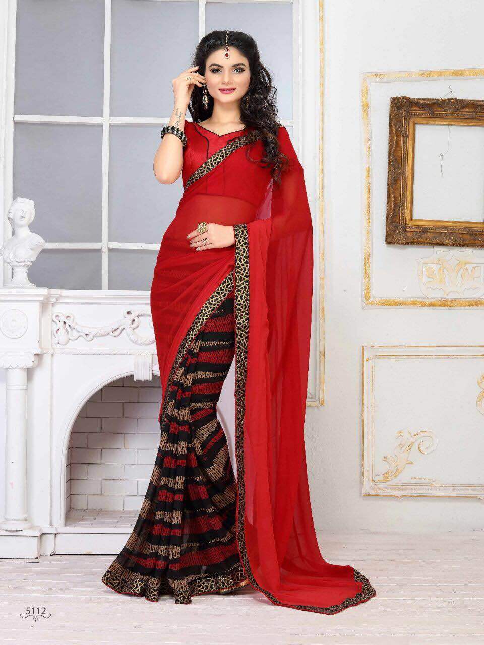 Amrut-7- Designer Collection Of Georgette Printed  Sarees  Online