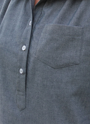 Itch to Stitch Mila Shirt from Indiesew made in Style Maker Fabrics chambray- placket
