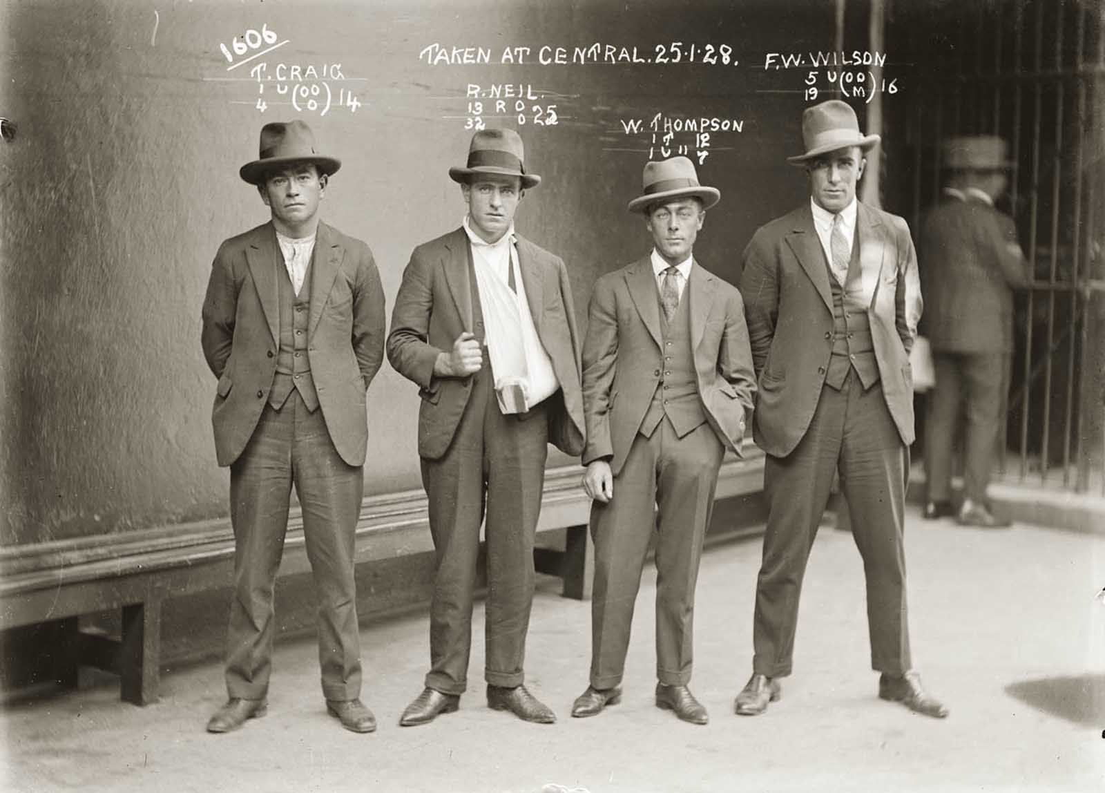 "Thomas Craig, Raymond Neil (aka ""Gaffney the Gunman""), William Thompson and FW Wilson. 1928."