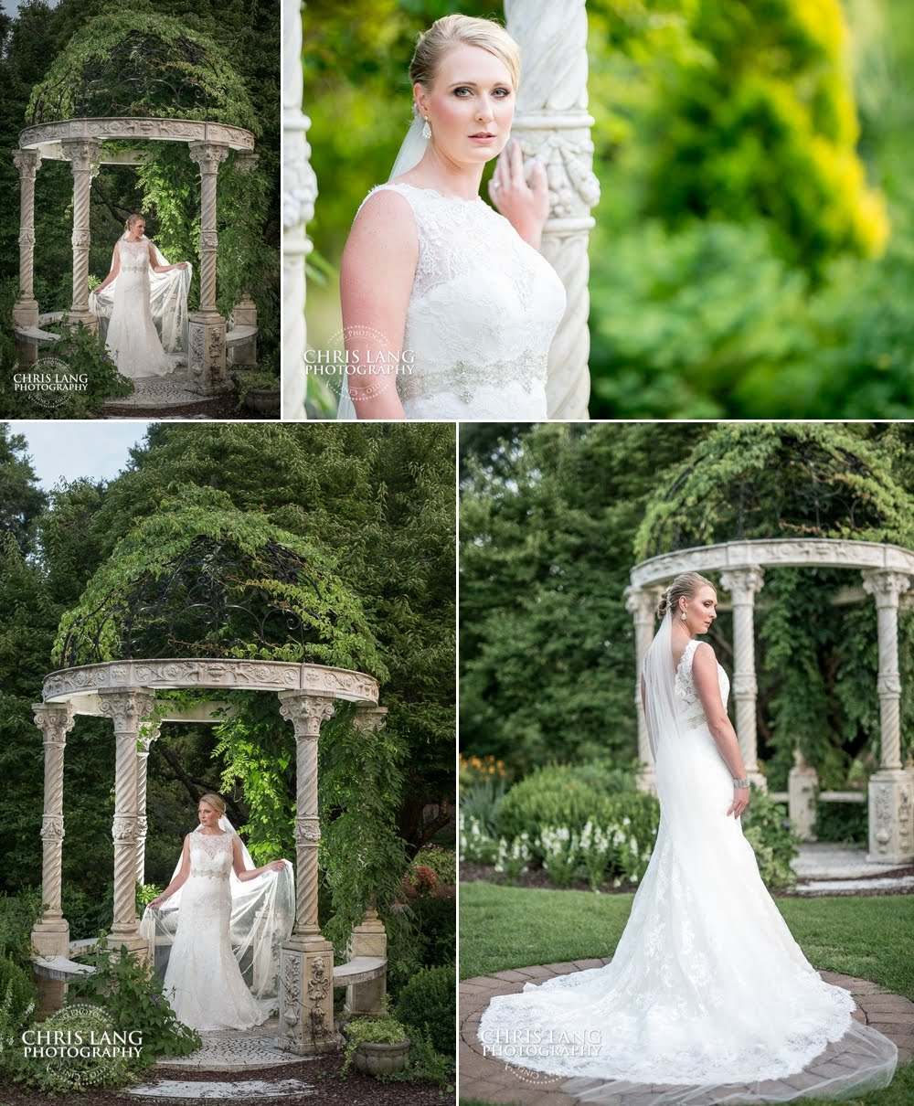 pictures of bride in the garden at the arboretum in wilmington NC - Garden Bridal Pictures - Bridal Picture Ideas  -  NC Bridal Photographers