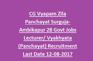 CG Vyapam Zila Panchayat Surguja-Ambikapur 28 Govt Jobs Lecturer Vyakhyata (Panchayat) Recruitment Last Date 12-08-2017