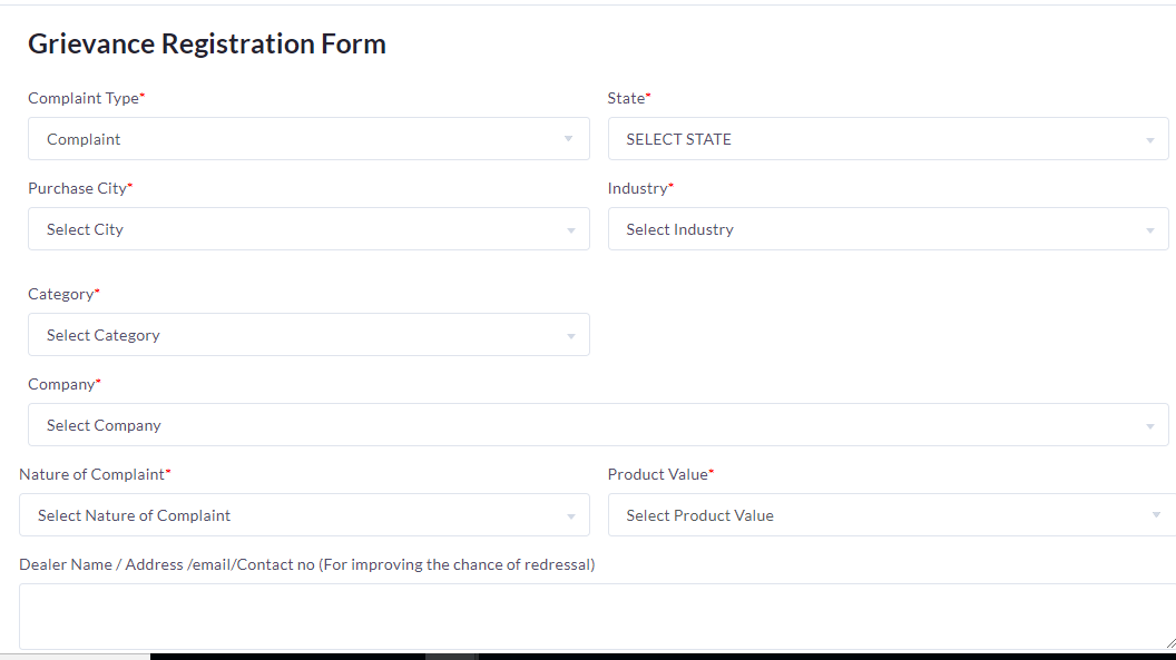 Grievance Registration Form Page Will Be Show On Your Screen You Fill All  Details Regarding Your Complaint.one More Thing You Also Register Your  Query ...