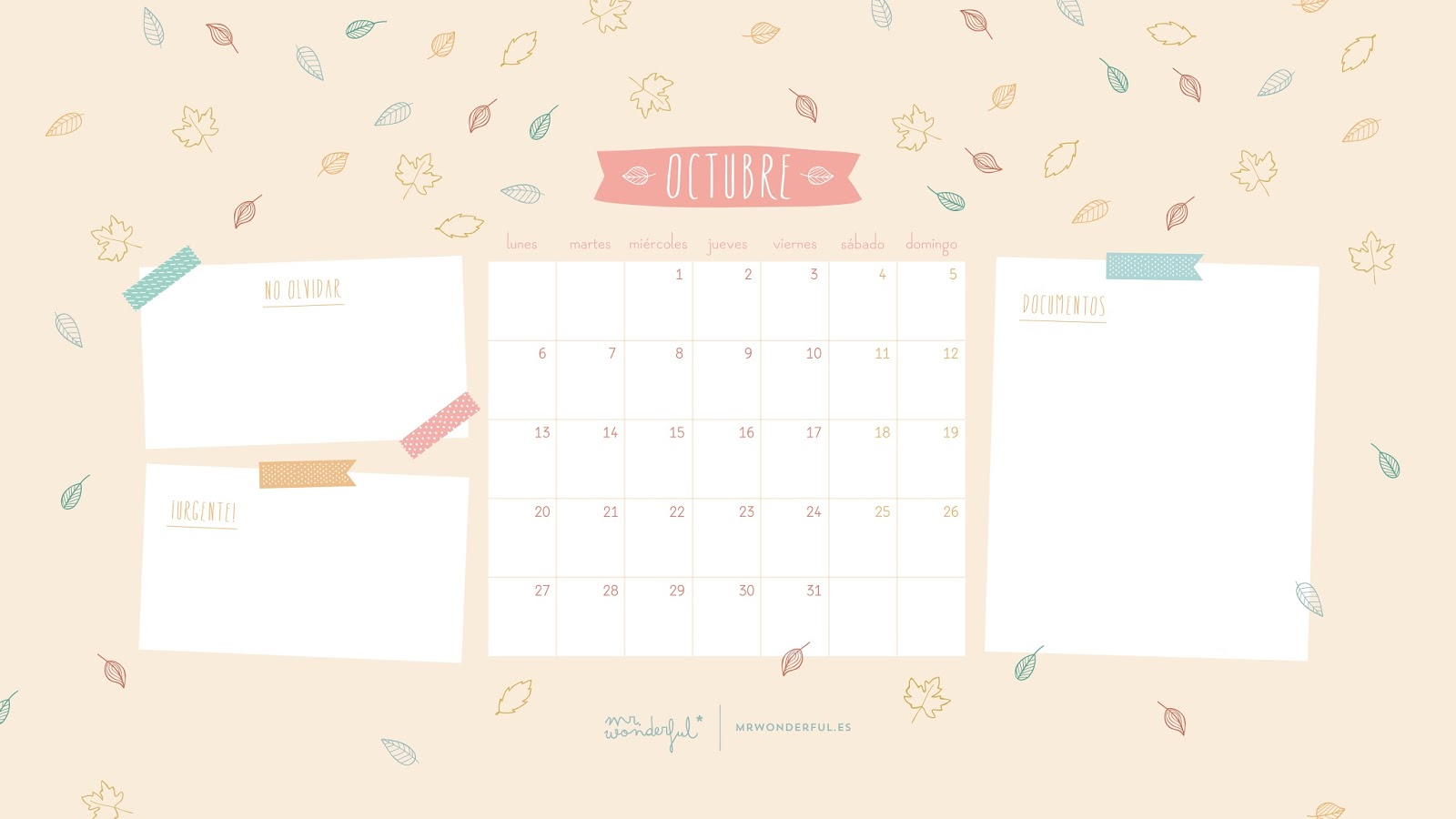 Descargable Mr Wonderful Calendario Octubre
