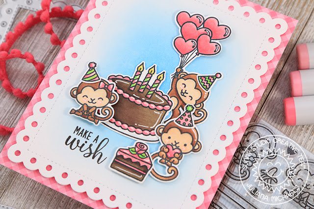 Sunny Studio Stamps: Make A Wish Love Monkey Frilly Frames Birthday Card by Juliana Michaels