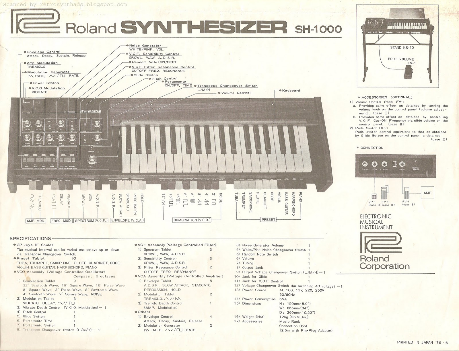 """Retro Synth Ads: Roland SH-1000 """"For those far-out sounds"""" brochure, 1975"""