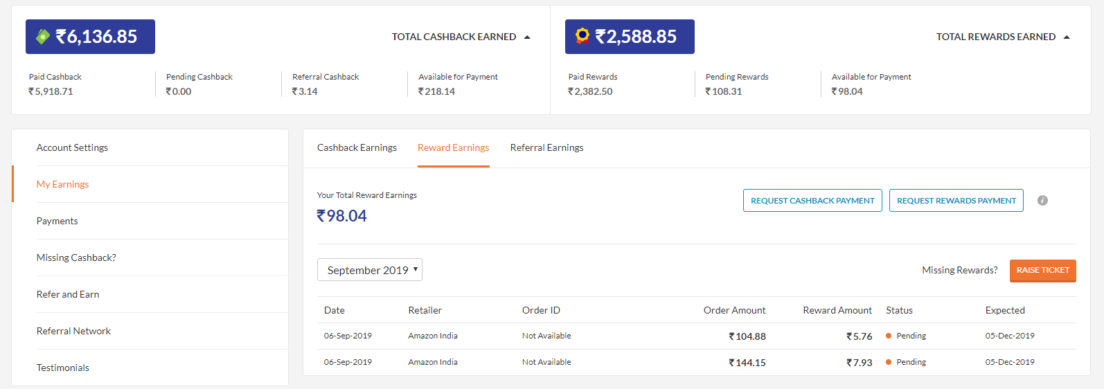 Cashkaro Earning Cashback proof