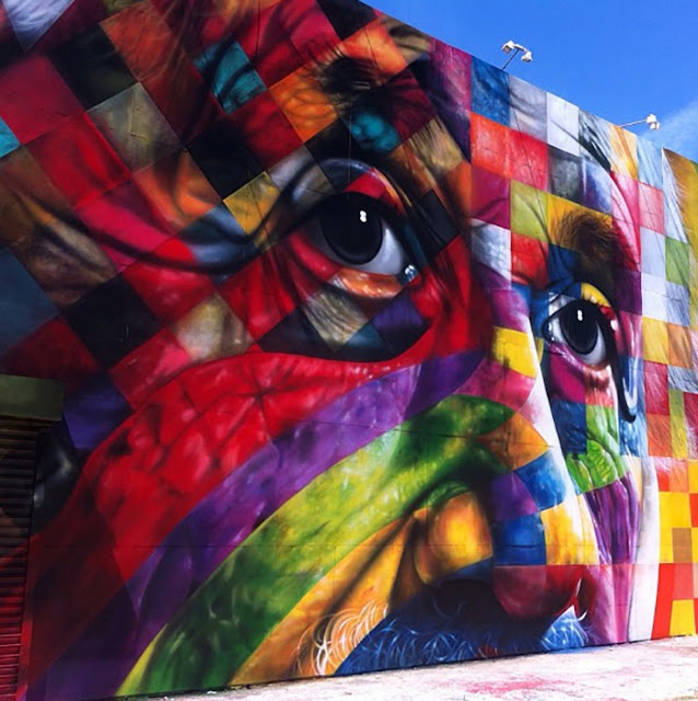 Street Art Portrait Of Einstein By Eduardo Kobra In Los Angeles, USA. 6