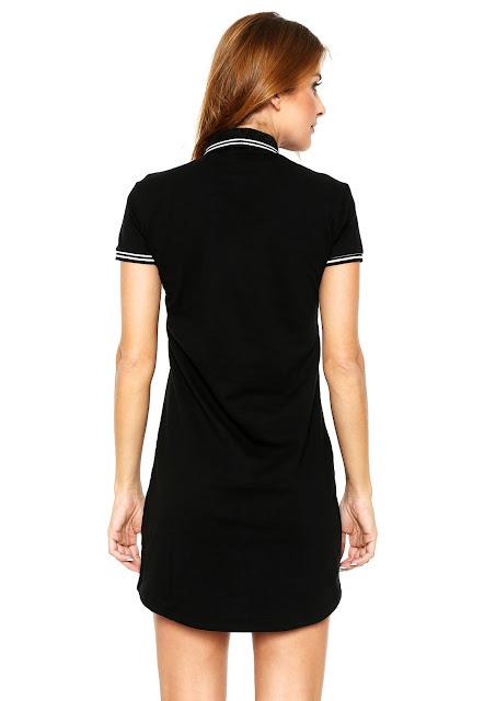 Moda Vestido Polo Calvin Klein Jeans Curto Logo Preto