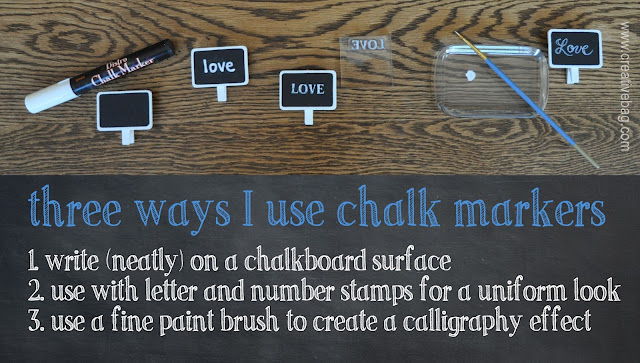 chalkboard signs from Creative Bag and tutorial on how to use chalk markers to create diy wedding projects