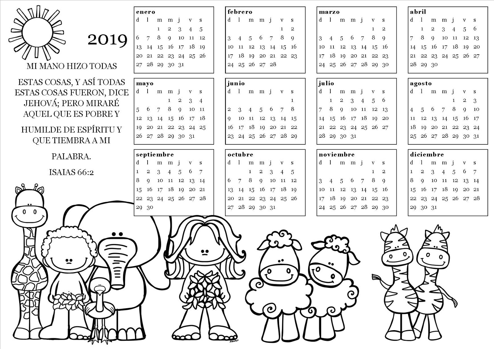 Selva Bella Calendarios 2019 Para Pintar