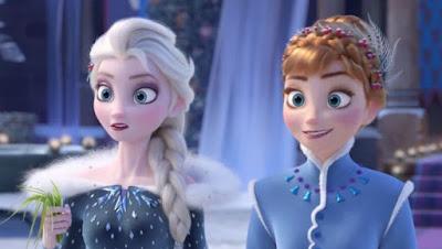 Gambar Ratu Elsa dan Putri Ana di Film Olaf Frozen Adventure Animasi Disney Wallpaper HD Lucu