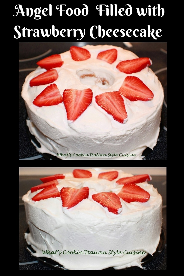 This is an angel food cake with a tunnel inside and filled with strawberry cheesecake filling. This one has heavy cream no sugar and strawberries on top. The cake is on a large plate. This is how to make a tunnel cake filled with cheesecake no sugar pudding, whipped cream and strawberries