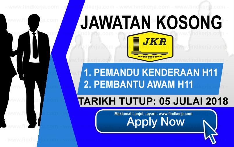 Jawatan Kerja Kosong Jabatan Kerja Raya - JKR logo www.ohjob.info www.findkerja.com julai 2018