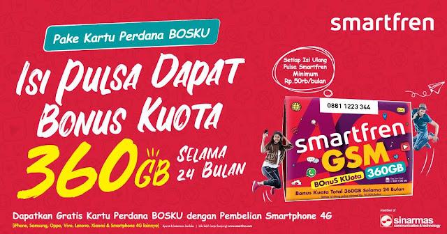#SmartFren - #Promo Isi Pulsa Kartu Perdana Dapat Bonus 360GB Kuota Untuk 24 Bulan