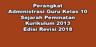 Perangkat Administrasi Guru Kelas 10 Sejarah Peminatan Kurikulum 2013 Edisi Revisi 2018