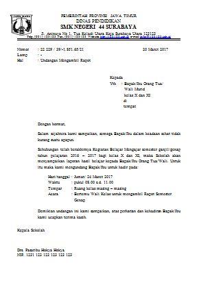 Surat Undangan Wali Murid Mengambil rapor