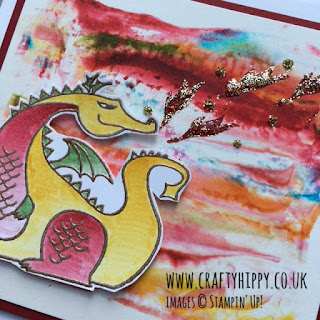 Create this fiery red dragon card. Make it using the Magical Day stamp set from Stampin' Up!