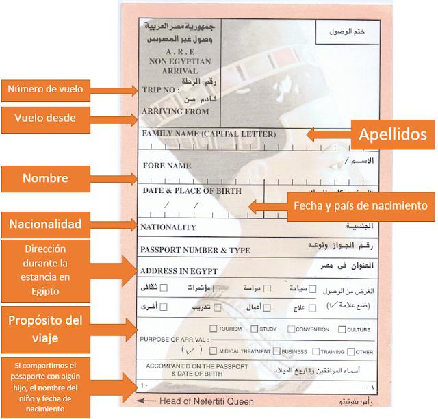 papelito inmigración Egipto con explicación www.bidtravel.es