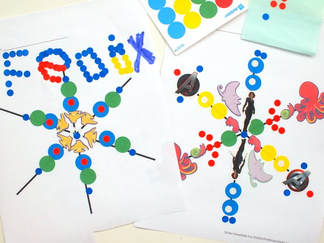 Groovy Sticker Snowflake Art- Fun Winter Art Project for Kids