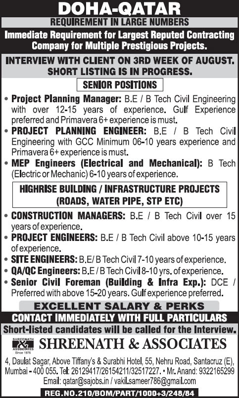 Jobs in doha qatar high rise building infrastructure projects jobs in doha qatar high rise building infrastructure projects shreenath associates publicscrutiny Images