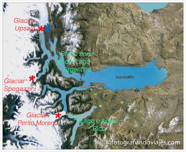 Mapa zona glaciares PN de Los Glaciares