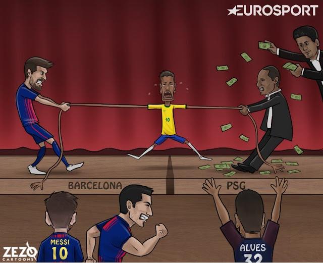 La lucha por Neymar descripción gráfica