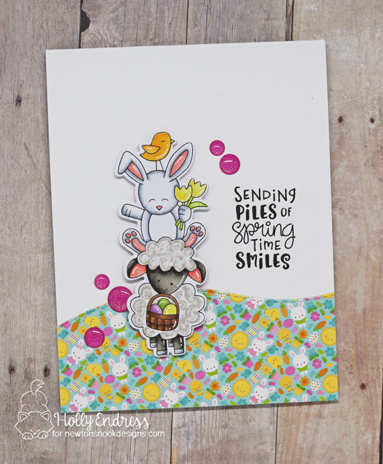 Spring Card with pile of Animals by Holly Endress | Spring Pile Up Stamp Set and Land Borders Die Set by Newton's Nook Designs #newtonsnook #handmade