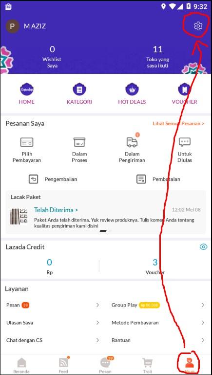 Langkah Pertama Mengatur Notifikasi Chat Lazada di Smartphone.
