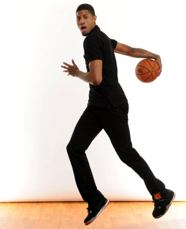 dc91d775b1e5 Paul George oF the Indiana Pacers Rocking Air Jordan Bred 4 Sneakers