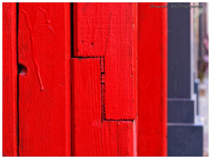 czerwona framuga, abstrakcja makro