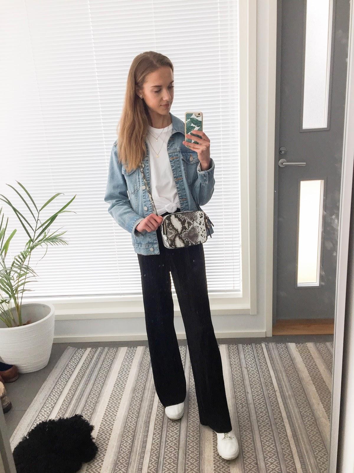 fashion-blogger-real-outfit-casual-flowy-trousers-denim-jacket-muotibloggaaja-arkiasu-liehuhousust-farkkutakki