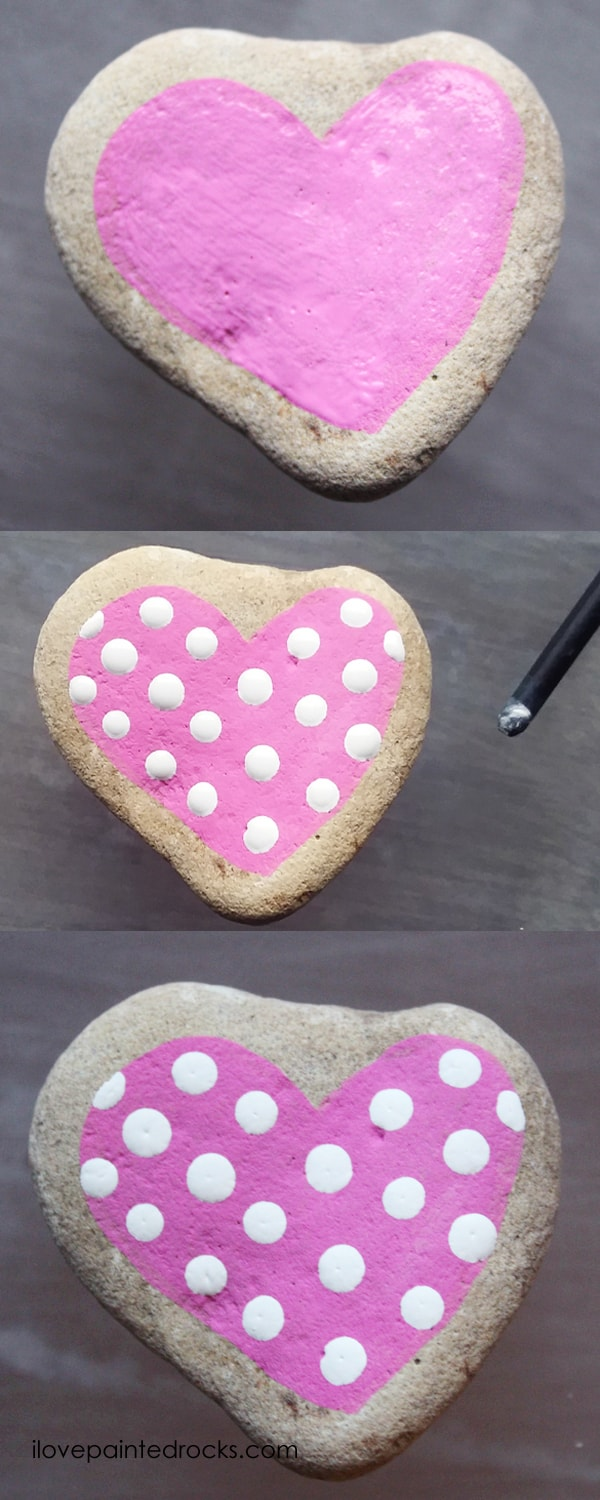 Easy rock painting ideas for Valentine's Day. I love all the painted rock tutorials in this post! Learn how to paint a pink heart with white polkadots on a rock. #ilovepaintedrocks #rockpainting #paintedrocks #valentinescraft #easycraft #kidscraft #rockpaintingideas #polkadot