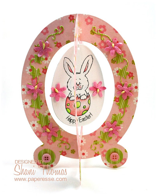Easter card made with Crafts-Too Presscut oval swing card die, by Paperesse.