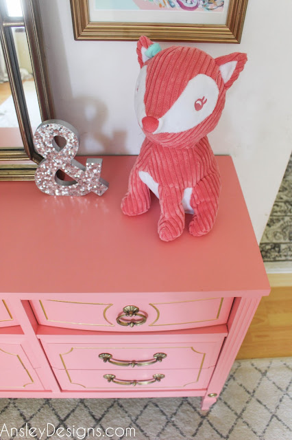 Hollywood regency vintage coral and gold dresser!