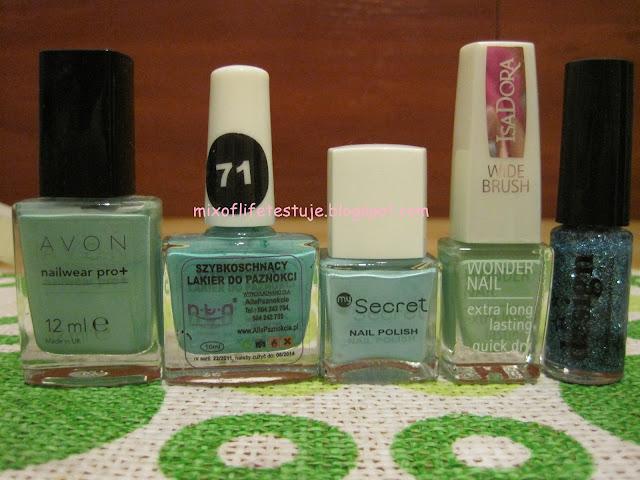 AVON nailwear pro+ sea breeze,AllePaznokcie nr 71,mySecret 148 mint,IsaDora 619 VINTAGE MINT,Mollon Cosmetics Design 14