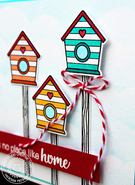 Sunny Studio Stamps: A Bird's Life Striped Birdhouse Village Card by Vanessa Menhorn