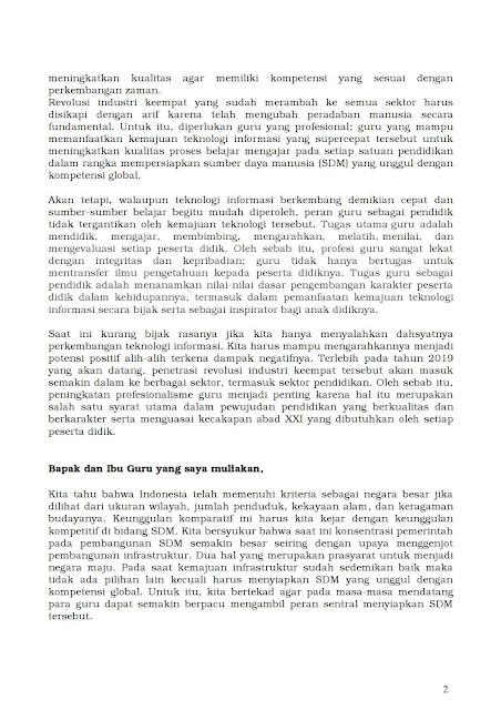 Download Pidato Mendikbud Pada Upacara Hari Guru Nasional 2018