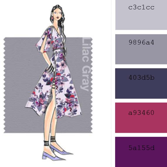 ideas to combinate spring pantone colors, lilac gray and purple