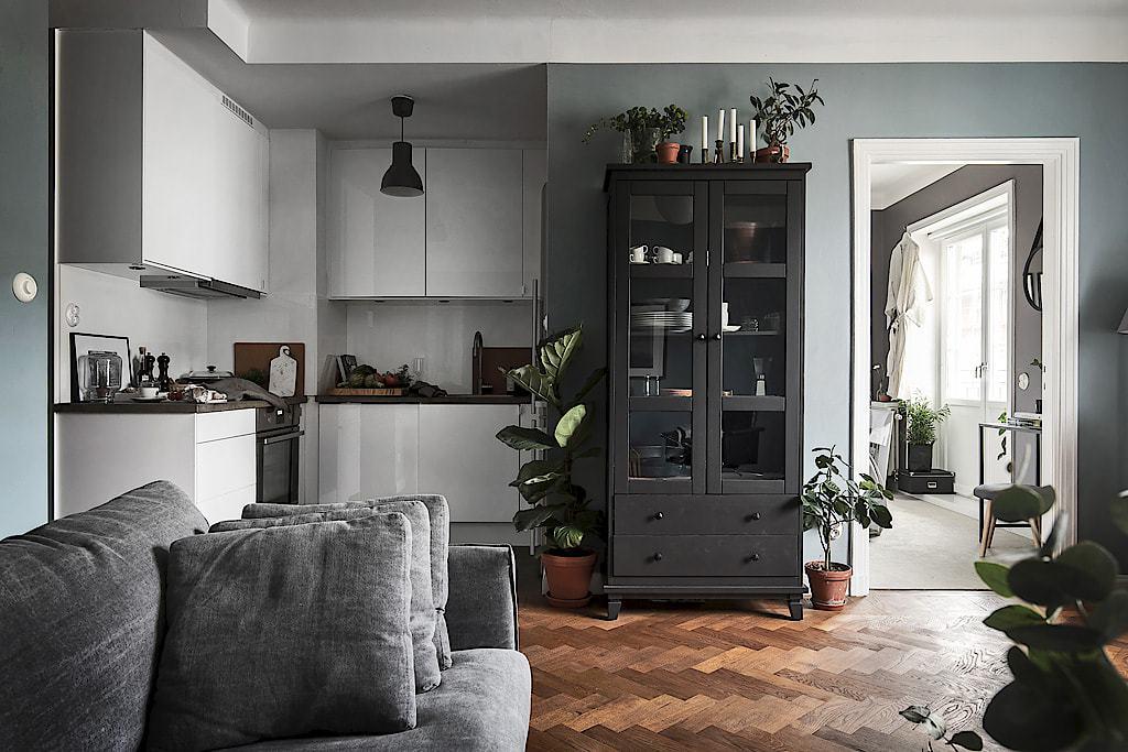 apartment with herringbone flooring