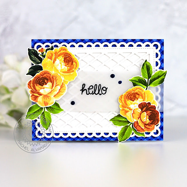 Sunny Studio Stamps: Everything's Rosy Frilly Frames Hello Card by Rachel Alvarado