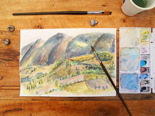 Pinta un paisaje con acuarelas en vivo