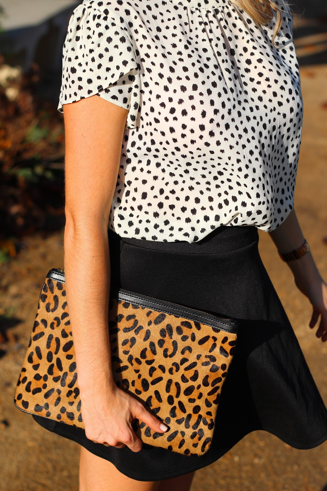 ad58d3b2315a Dalmatian Print Blouse from Forever 21 (similar here), Black Skater Skirt  c/o Charlotte Russe, Leopard Clutch from Banana Republic, Black Tie Pumps  from ...