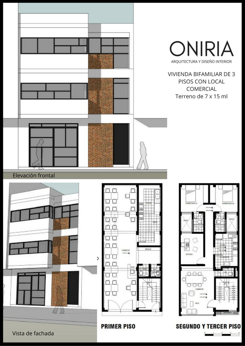 Oniria planos gratis de vivienda bifamiliar de tres pisos for Planos de viviendas de un piso