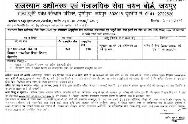 RSMSSB 562 Library Officer Recruitment 2016, Rajasthan पुस्तकालयाध्यक्ष Online Jobs