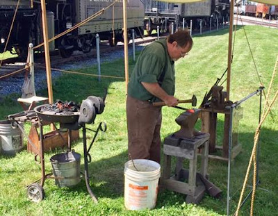 Frank Gillespie blacksmithing at Railroad Museum of PA