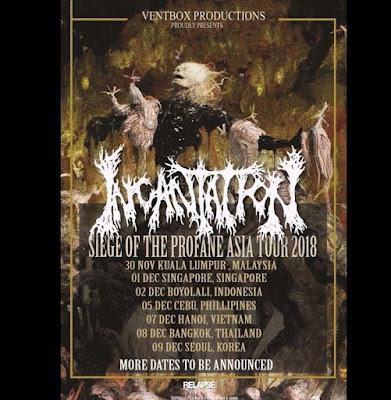"""Unit legendaris death metal asal Amerika, Incantation akan melangsukan turnya di asia yang diberi tajuk """"Siege Of The Profane Asia Tour 2018""""  beruntung sekali kota Boyolali menjadi singgahan tur asia Incantation."""