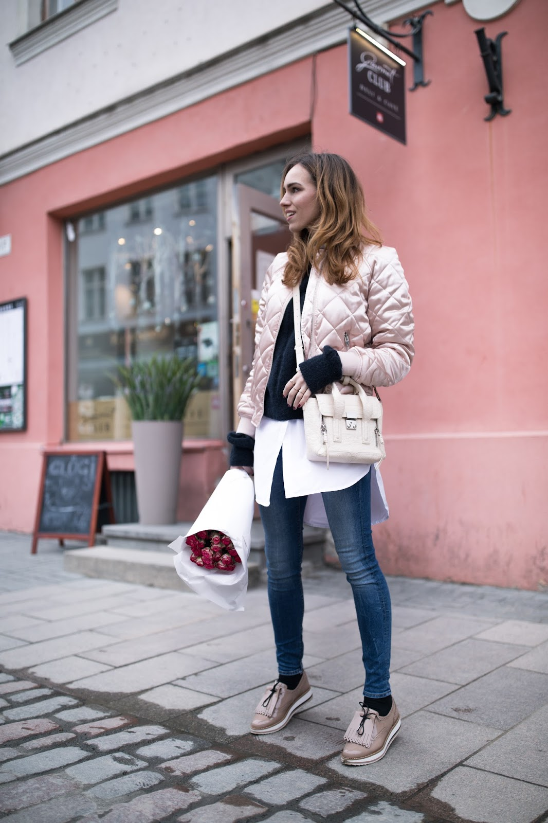 pink bomber jeans outfit spring