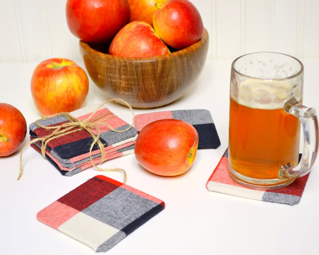 fall flannel coasters diy