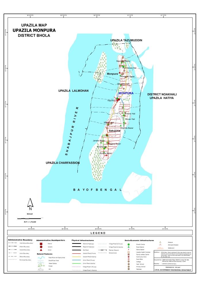 Monpura Upazila Map Bhola District Bangladesh